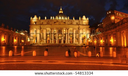 Night Vatican - Saint Peter cathedral - stock photo