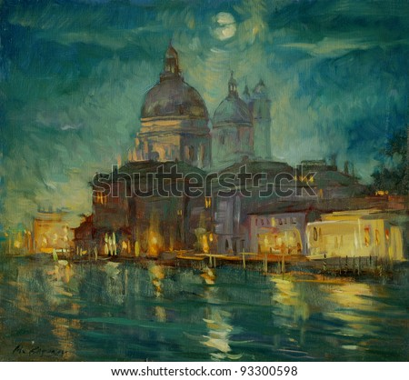 night venice, painting by an oil paint on a cardboard,  illustration - stock photo