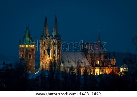 night vieew of St. Bartholomew Gothic Cathedral, XIV century in Kolin, Czech Republic  - stock photo
