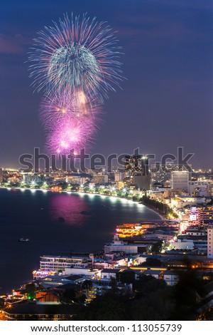 Night view and firework at Pattaya city, Thailand - stock photo
