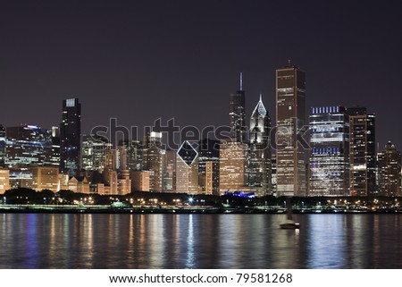 Night View at Downtown Chicago and lake Michigan - stock photo