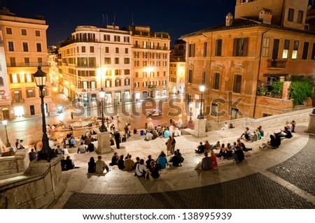 Night view at Piazza di Spagna from upstairs horizontal - stock photo