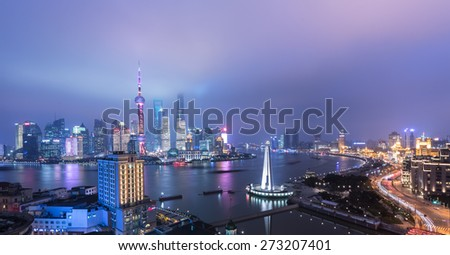night view at shanghai china, huangpu river and bund. - stock photo