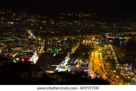 Night view at the Alanya, Turkey - stock photo