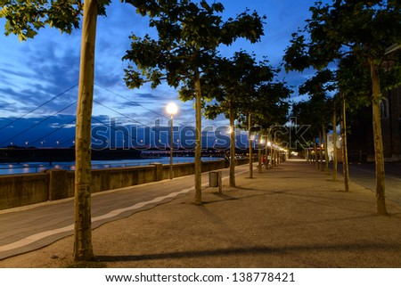 Night view at the alley of plane-trees in the Dusseldorf - stock photo