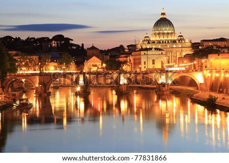 Night view at the Angelo Bridge and St. Peter's Basilica in Rome, Italy - stock photo