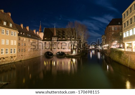 Night view at the Holy Ghost Hospital in Nurnberg, Germany - stock photo