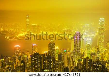 Night view at the Peak, Hong Kong