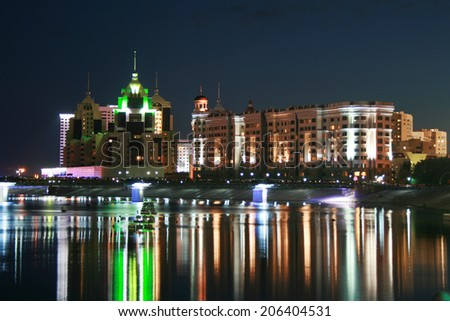 Night view at the river in Astana, Kazakhstan - stock photo
