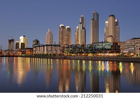 Night view at the waterfront in Puerto Madero, Buenos Aires - stock photo