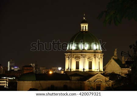 Night view Cathedral of the city of Brescia, Italy