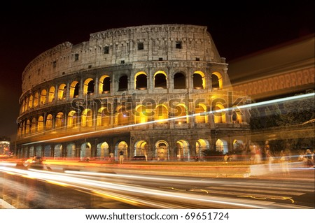 Night view Coliseum, Rome Italy - stock photo