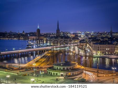 Night view from Stockholm as seen from Katarinahissen, Slussen. - stock photo