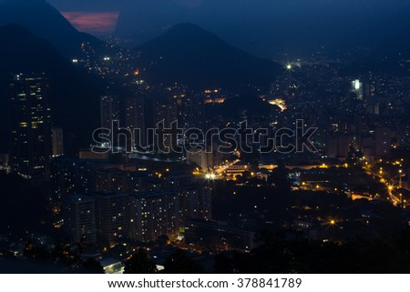 Night view from Sugar loaf mountain, Rio  - stock photo