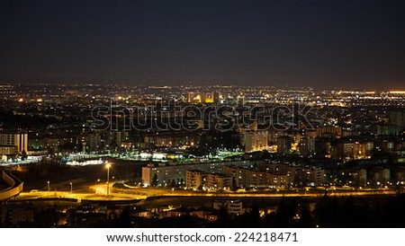 Night view from the hills of Bologna - stock photo