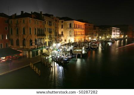 Night view from the Rialto Bridge in Venice - stock photo