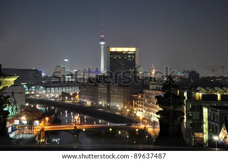 Night view from the roof of the Reichstag, Berlin - Germany - stock photo