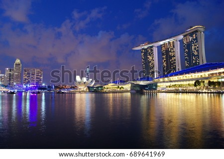 Night view, marina bay