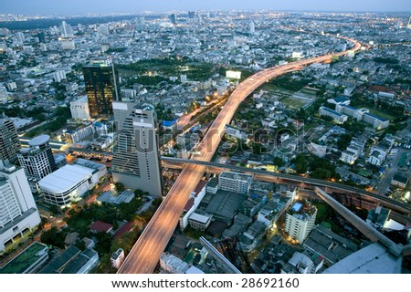 Night view near Taksin bridge in Bangkok