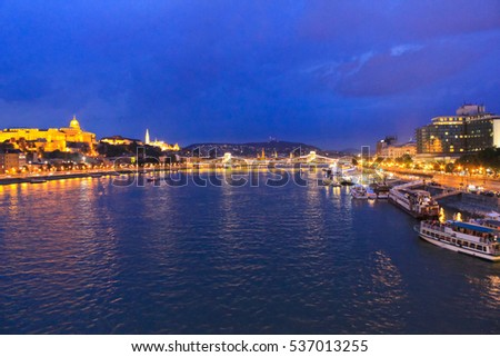 Night view of a Banks of Donau in the Hungary, Budapest / Night view of a Banks of Donau