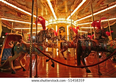 Night view of a carousel in an amusement park