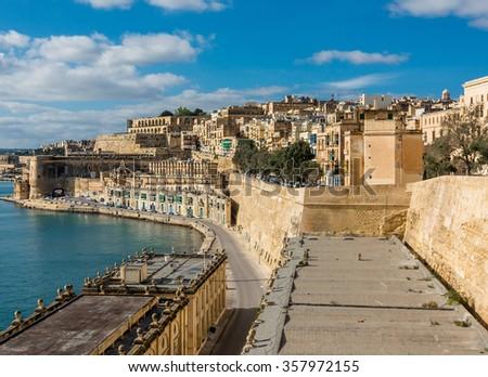 Night view of a harbor in Valletta, Malta - stock photo