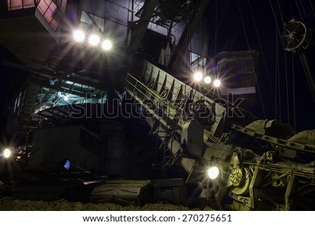 night view of absetzer with lighted spotlights - stock photo