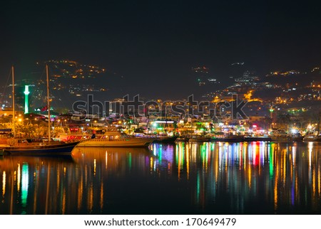 Night view of Alanya  - stock photo