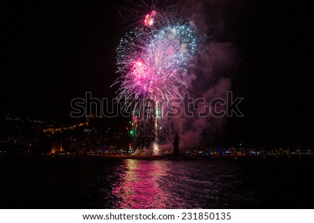 night view of Alanya and the fireworks festival  - stock photo
