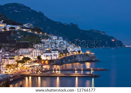 Night view of Amalfi, Italy - stock photo