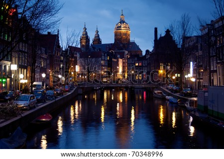 Night view of Amsterdam from Red Light District,Netherlands - stock photo