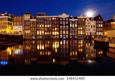 night view of Amsterdam, Holland - stock photo