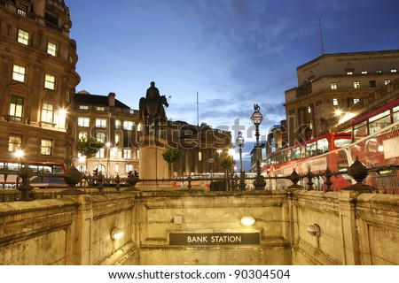 Night view of Bank region in London - stock photo