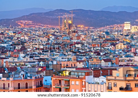Night View of Barcellona from Montjuic, - stock photo