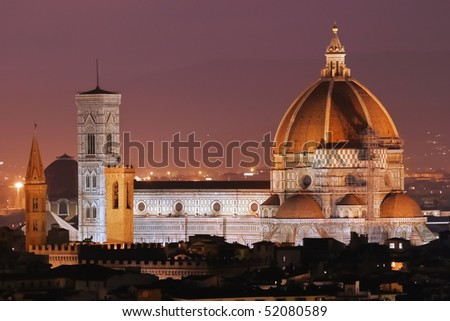 Night View of  Basilica di Santa Maria del Fiore,the cathedral (Duomo) of Florence - stock photo