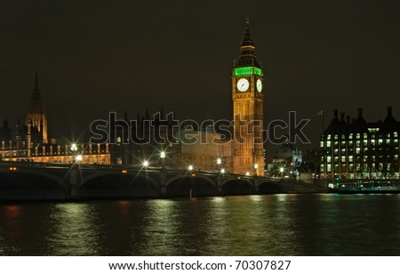 Night view of Big Ben and Thames river, London - stock photo