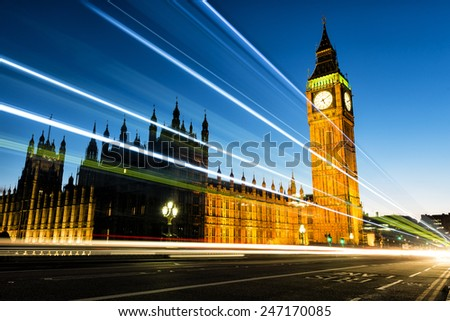 Night view of Big Ben. Big Ben is the nickname for the Great Bell of the clock also known as Clock Tower and Elizabeth Tower is one of the most prominent symbols of the United Kingdom. - stock photo