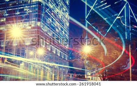Night View of Blurry Lights in a City - stock photo
