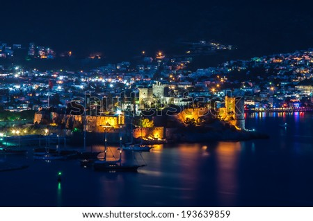 Night View of Bodrum Castle, Turkey - stock photo