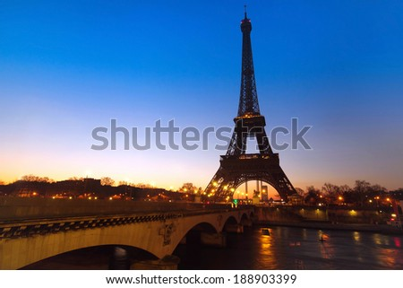 night view of bridge over Seine river and Eiffel tower, Paris, France - stock photo