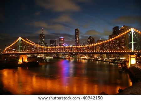Night view of Brisbane Central Business District and river