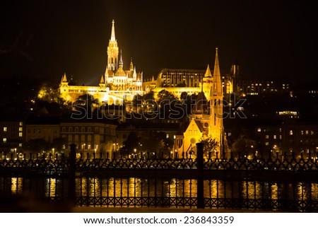 Night view of Buda part, Budapest in Hungary - stock photo