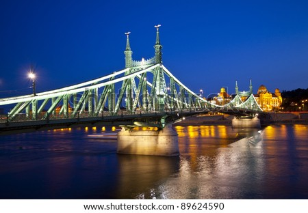 Night view of Budapest, Hungary, Szabadsag hid,