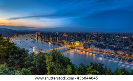 Night view of Budapest,Hungary with Elisabeth brudge over Danube river from fortress Citadel - stock photo