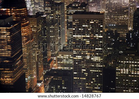 Night view of buildings in Midtown Manhattan in New York City. - stock photo