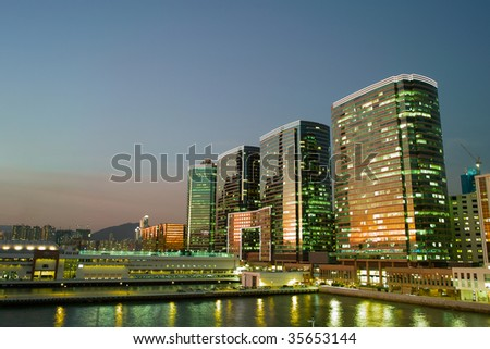Night view of business building, Tsim Sha Tsui, Hong Kong