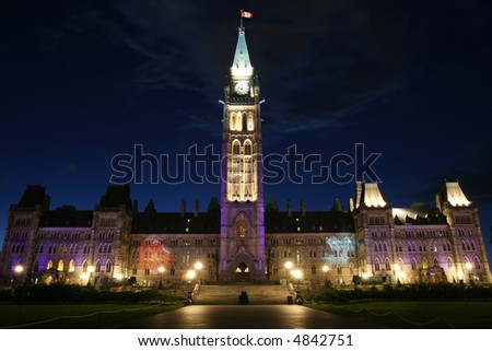 Night View of Canadian House of Parliament, Ottawa, Canada - stock photo