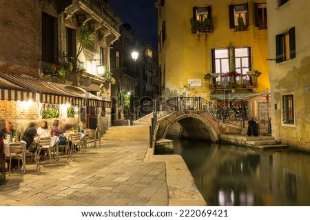 Night view of canal in Venice, Italy - stock photo