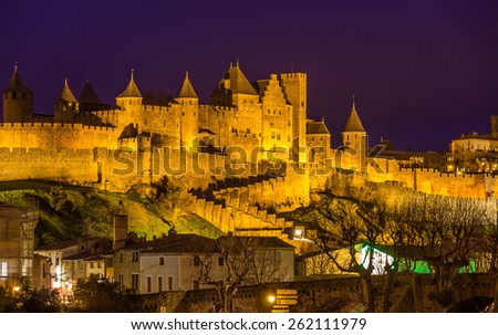 Night view of Carcassonne fortress - France, Languedoc-Roussillon - stock photo
