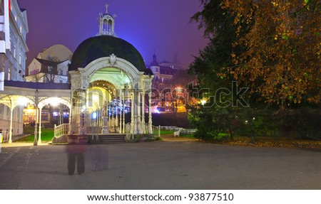 night view of Carlsbad. Czech Republic - stock photo